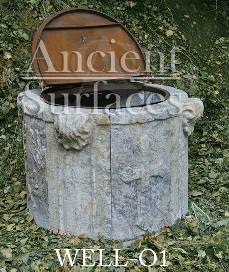 Ancient Cross motif stone Well head reclaied from Italy with old hand twisted metal work