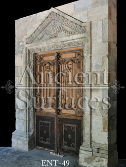 Antique Italian Limestone portal with its metal gate circa 1700's