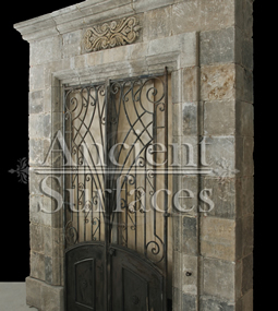 Antique reclaimed and restored limestone entryway Empire style circa 19th century
