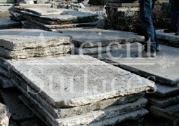 "Antique thick Limestone slabs milled at 3"" in thickness sitting in our yard, to be used for kitchen countertops, bathroom vanity tops, BBQ tops, kitchen islands, pool copings, spa coping edges, landscaping and stairs, salvaged from the bottom of farm house foundations"