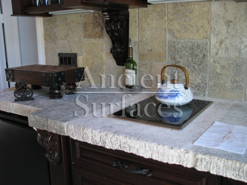 Antique Thick Limestone Slabs Milled At 3 In Thickness Used As Kitchen Countertops Salvaged