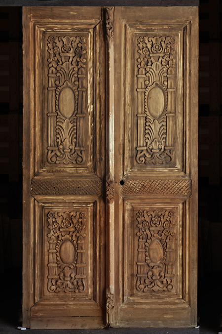 Ancient hand carved wooden door circa 16th century