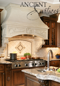 Antique Limestone Kitchen Range Hood