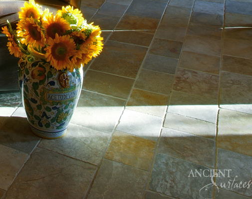 Antique Limestone Floors the Arcane Selection French Limestone in a Living Room in Orange County California