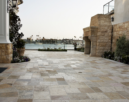 Antique Limestone Floors the Biblical Stone Selection in a Lido Isle Outdoor Custom Deck with Fireplace