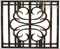 Antique hand forged fireplace metal gates crafted out of original entryway iron gates and doors.
