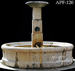 Antique courtyard stone water fountain