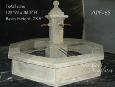 Atique Tuscan style pool fountain out of Limestone