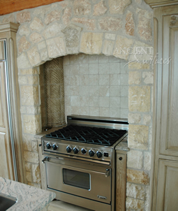 Umbrian Limestone cladding used on a kitchen wall and back splash
