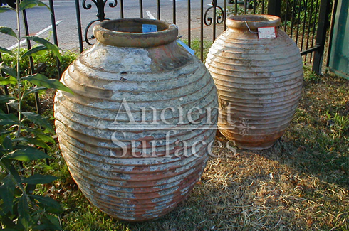 Reclaimed Italian Olive ribbed terracotta jars