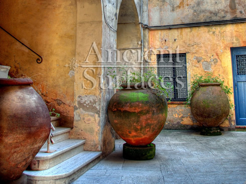 Antique Italian courtyard olive jars