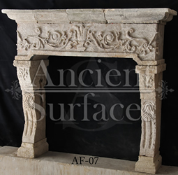 A very unique ancient reclaimed Italian Limestone fireplace mantel