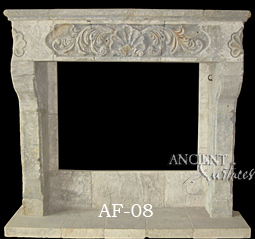A special antique salvaged and restord stone fireplace surrond with hearth