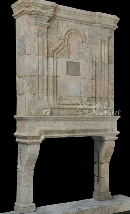 Antique Stone Fireplace With A Top Trumeau Reclaimed Mantle An Overmantle