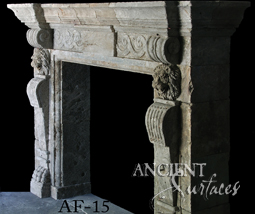 An antique Stone Fireplace by Ancient Surfaces