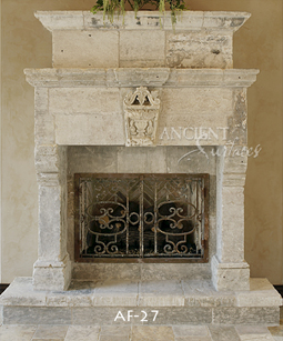 a 15th century antique stone surround with overmantle
