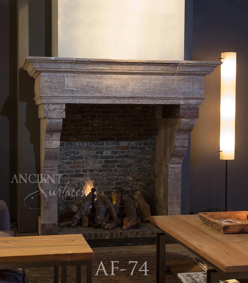 Old Limestone Fireplace
