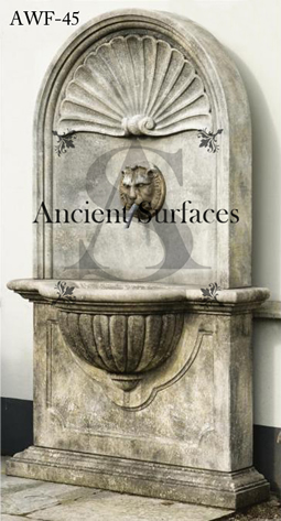 Antique lion head French Provincial wall fountain salvaged from the south of Europe circa 18th century