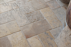 Antique reclaimed 'Arcane Stone' pavers salvaged from 17th centuries period homes from across the south of France and the Mediterranean European south