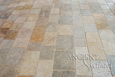 Antique reclaimed 'Arcane Stone' pavers salvaged from 17th centuries period homes from across the south of France and the Mediterranean European south. Installed in a coastal Mediterranean style home as shown in this picture