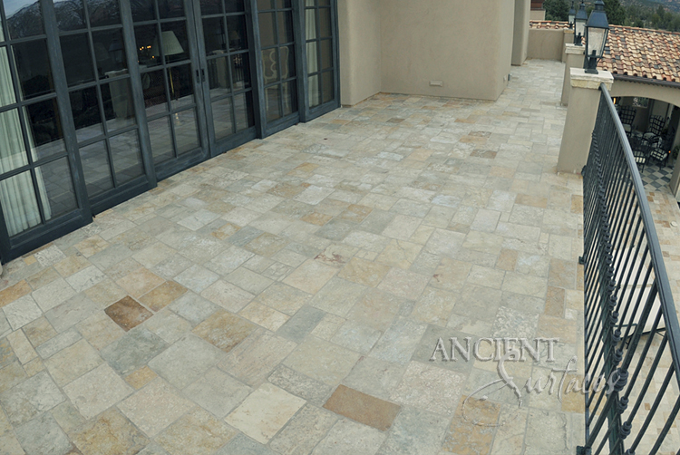 Antique Reclaimed Arcane Stone Pavers Limestone Flooring Installed On All Outdoor Backyard Courtyard