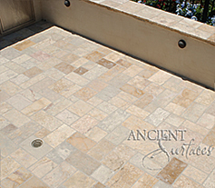 Arcane stone pavers installed on a pool deck
