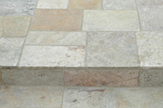 Antique reclaimed 'Arcane stone' pavers limestone flooring installed on all outdoor backyard, courtyard and side yard patios, stairs and catwalks