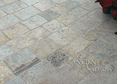 Antique reclaimed Biblos Limestone installed on an ocean front deck in a running-bond fashion