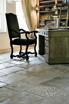 Old reclaimed Biblos Stone shown installed in a southern plantation style home in Dallas, TX