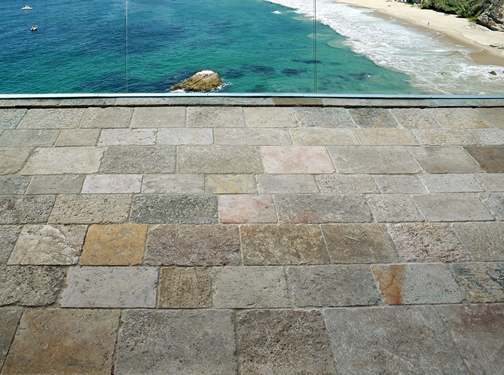 Ancient reclaimed Biblos Stone also named Biblical Stone is installed in a $16 million home in Palo Alto, CA
