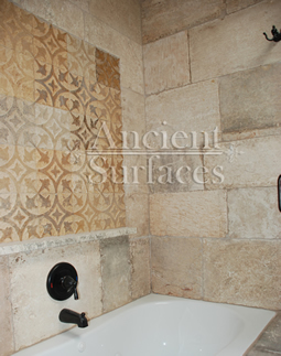Kronos Limestone used in a bathroom and shower floors and walls