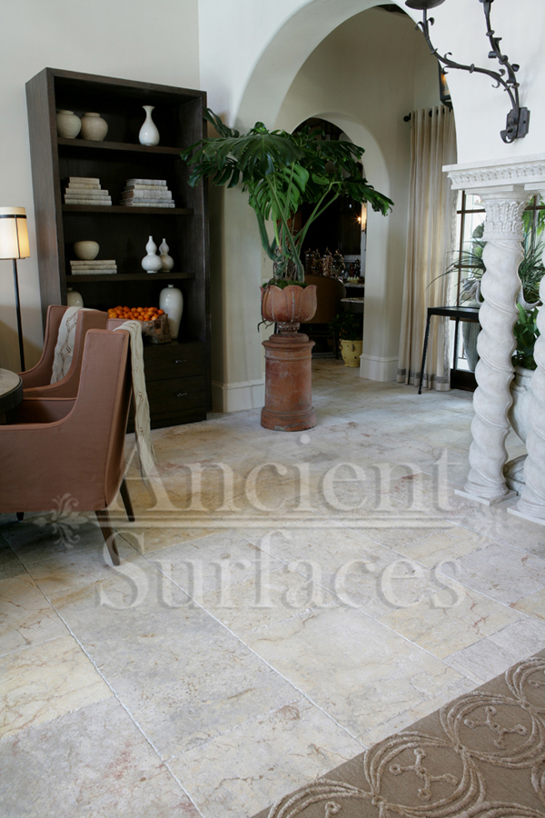 Millenium Limestone Flooring Wide Planks Installed In A Living Room And Foyer Of Mediterranean Style