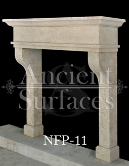 This Stone fireplace has nice corbelled legs supporting a simple piece Tuscan style lintel
