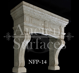 a hand carved kitchen hood stone surround
