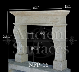 a contemporary simple hand carved stone fireplace surround