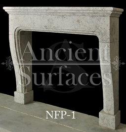 A simple Bolection fireplace hand carved out of French limestone with tapered legs