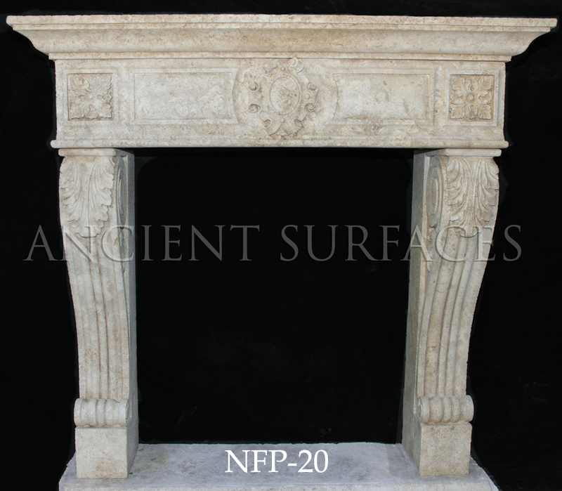 A Tudor Style Limestone Fireplace Mantel Contemporary Simple Hand Carved Stone Surround