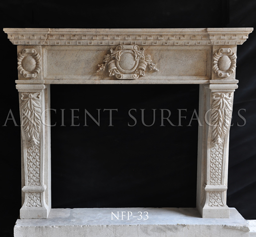 New hand carved stone fireplace NFP-33