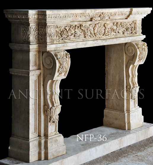 A simple French coutryside fireplace mantel with a simple bolection frame