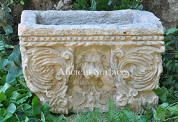 Antique Lion Head Stone Planter