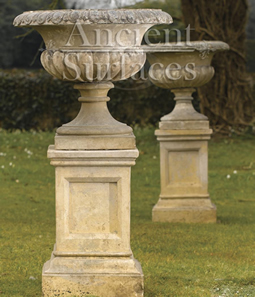 Antique Di Medicci Limestone Planters with Pedastle Pair