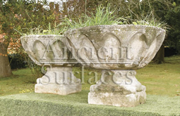 Antique reclaimed English gothic revival stone planters circa 15th Century ideal for planting succulants in.