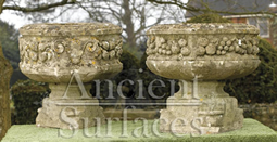 Antique twins rams head stone planters