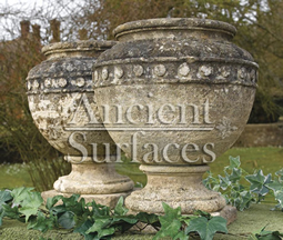 Antique Simple Limestone Planter Pair