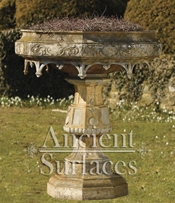Antique Bird Bath Styled Limestone Planter