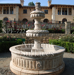 Hand carved rounded limestone 3 tiered water fountain