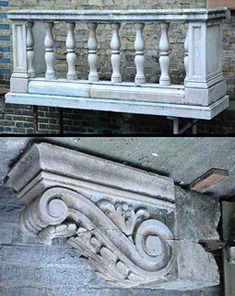 Antique balustrades and corbels in an old balcony