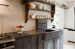 Antique reclaimed farmhouse trough sink hand carved back in the 16th century refurbished to accomodate any modern setting and application from a powder room to a kitchen vegetable sink
