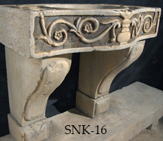 Ancient 16th century Italian Renaissance era marble inlayed sink restored to its former glory by our uniquely talented artisans. Classic Italian foliage and vine motifs hanging on a twig shown on face side and topical surface