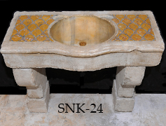 Ancient 16th century Italian Renaissance era marble inlayed sink restored to its former glory by our uniquely talented artisans wonderful inlayed ancient work shown on its surface